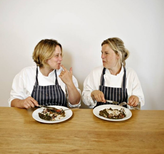 Sustainable restaurants.  Emma Miles (pony tail) and Laura Hearn, who own and run the restaurant. Clerkenwell Kitchen, London. 19th August 2009 Photo copyright: Charlotte Wiig